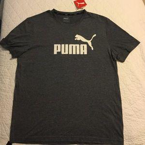 NWT L Puma Mens Gray t-shirt, front logo